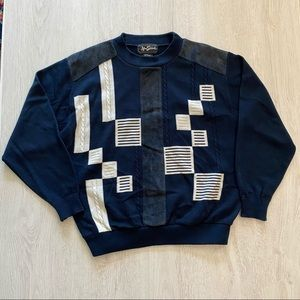 Vintage Alan Stuart Blue Geometric Pattern Sweater